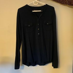 Navy Blue Buttoned Top